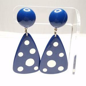 Jewelry - Retro 80s Blue White Polka Dot Triangle Earrings